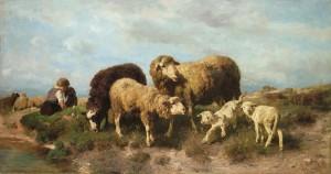 Kind mit Schafen an der Tränke ⋅ 1879 Image