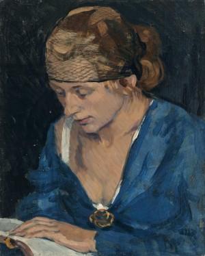 Lesende mit blauer Bluse ⋅ um 1920 Image