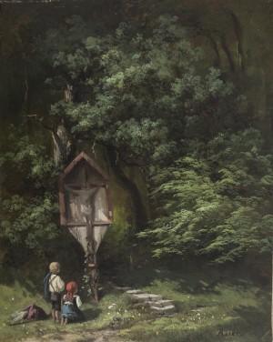 Kinder am Wegkreuz an der Biber in Brannenburg ⋅ 1850/55 Image