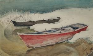 Ruderboote im Schnee ⋅ um 1945/50 Image