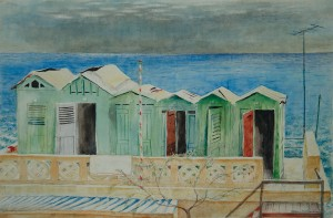 Italien - Badehütten in Monterosso ⋅ nach 1950 Image