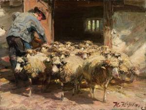 Die Herde verlässt den Stall ⋅ 1891 Image