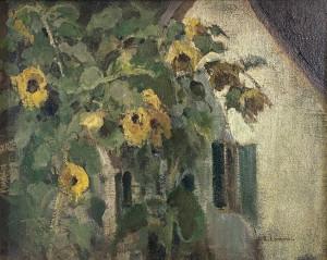 Sonnenblumen am Haus Image