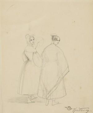 Zwei junge Damen in Biedermeier-Kleidung ⋅ um 1845 Image