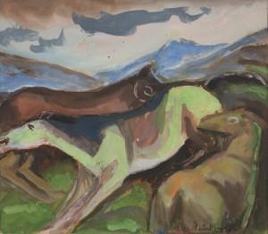Fröhlich weidende Pferde ⋅ um 1960 Image