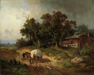 Fuhrwerk auf der Landstraße ⋅ um 1877 Image