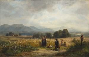 Erntetag in Oberbayern mit den Chiemgauer Bergen ⋅ um 1856 Image