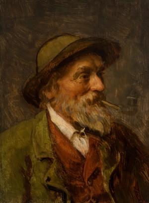 Alter Mann mit Pfeife ⋅ um 1890 Image
