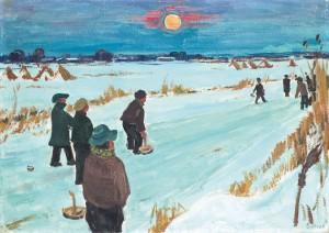 Winterabend im Chiemgau (Eisstockschützen) ⋅ um 1950 Image