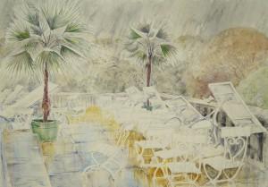 München - Terrasse am Haus der Kunst im Regen ⋅ nach 1950 Image