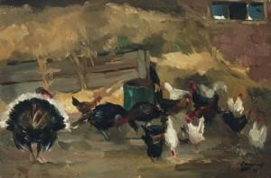Hühnerhof beim Pumperer in Loiberting bei Gstadt am Chiemsee ⋅ 1968 Image