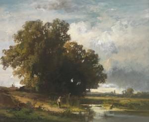 Teichlandschaft mit Baumgruppe ⋅ um 1930 Image
