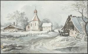 Oberbayerisches Dorf im Schnee ⋅ um 1800 Image