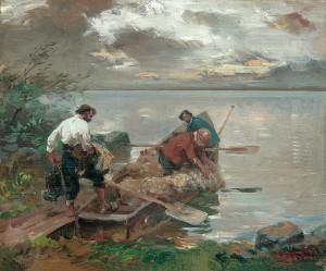 Ausfahrt der Fischer am Chiemsee ⋅ 1917 Image
