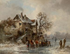 Holzfuhrwerk im Winter ⋅ 1855 Image