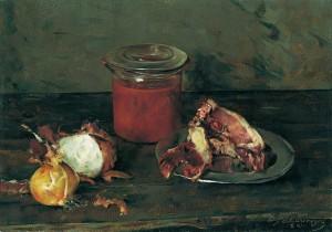 Stillleben mit Fleisch und Tomatenglas ⋅ 1943 Image