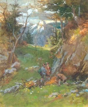 Heimkehr von der Hirschjagd am Petersberg ⋅ um 1898 Image