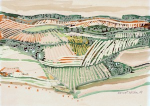 Hügellandschaft mit Feldern ⋅ 1968 Image