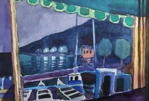 Nächtlicher Hafen, Moscenicka Draga, Istrien ⋅ 1980 Image