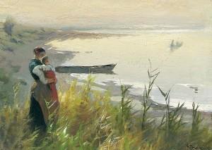 Mutter mit Kind, einem Fischerboot nachsehend ⋅ um 1910 Image