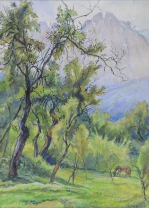 Baumlandschaft mit Pferd ⋅ 1969 Image