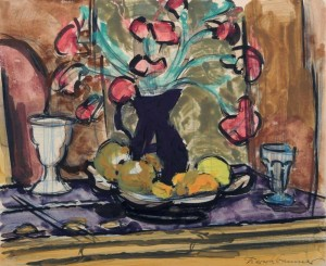 Stillleben mit Tulpen, Fruchtschale und zwei Vasen ⋅ 1927 Image