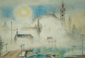Breitbrunn - Kirche im Nebel ⋅ nach 1950 Image