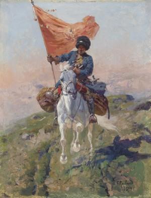 Kosakenreiter im vollen Galopp mit roter Fahne ⋅ 1893 Image