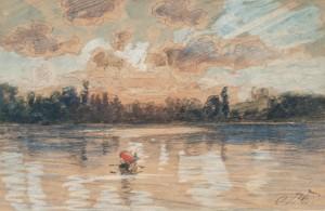 Sonnenuntergang am Chiemsee ⋅ um 1890 Image
