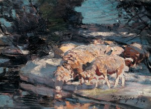 Schafe am Wasser im Abendlicht ⋅ 1895 Image