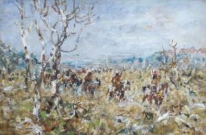 Blackfootkrieger zu Pferd in weiter Landschaft ⋅ um 1914/15 Image