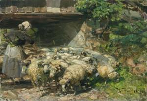 Schafherde auf dem Weg durch die Durchfahrt am Wolkenhof in Murrhardt ⋅ 1920 Image