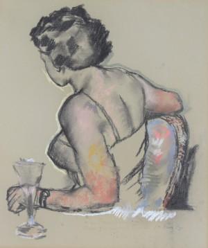 Dame im Kleid, sitzend mit Glas, in Seitenansicht ⋅ 1955 Image