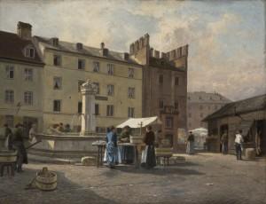 Alt-München, Partie von der Südostseite des Viktualienmarktes mit dem Fischerturm (1891 abgebrochen) und dem Café Groeber (1893 abgerissen) ⋅ 1891 Image