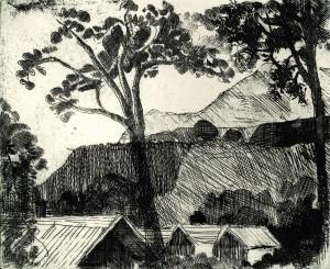 Landschaft mit Bäumen und Häusern ⋅ um 1990 Image