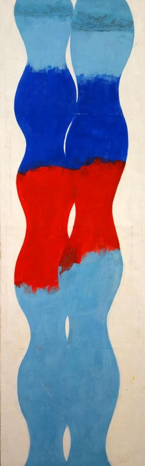Blaue Doppelsäulen, Variation mit Rot-Blau und Brandrand ⋅ 1970 Image
