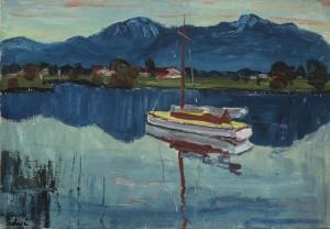 Segelboot in der Feldwieser Bucht ⋅ 1935 Image