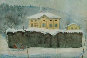 Gelbes Haus mit rotem Schlitten ⋅ um 1922/25 Image