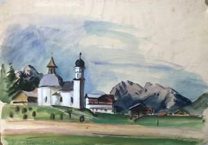 Die Seekiriche Hl. Kreuz in Mösern bei Seefeld in Tirol ⋅ 1932 Image