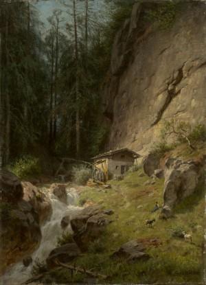 Mädchen mit Ziegen am Gebirgsbach ⋅ um 1875 Image
