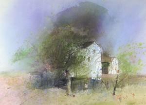 Bauernhaus hinter Obstbäumen ⋅ 1986 Image