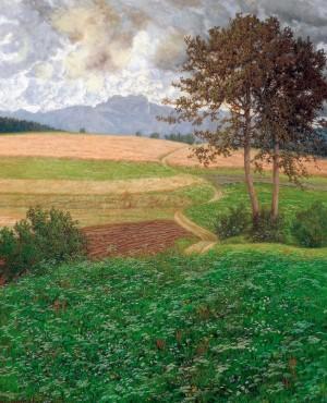 Blumenwiese mit Blick zur Kampenwand ⋅ 1916 Image