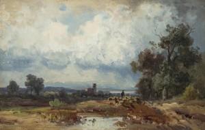 Abendlandschaft im Voralpenland mit heimkehrenden Schäfer ⋅ um 1865 Image