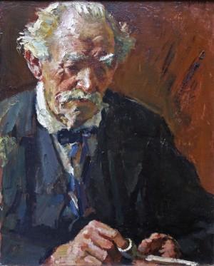 Alter weißhaariger Mann, Pfeife stopfend ⋅ um 1925 Image