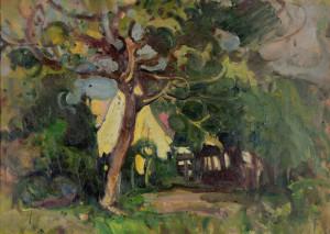 Häuser hinter Bäumen Image