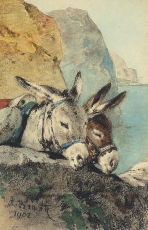 Eselpaar (Gruß vom Gardasee) ⋅ 1902 Image