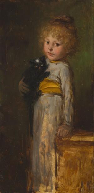 Mädchen mit Katze ⋅ um 1885 Image