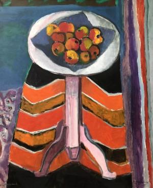 Rosa Tisch mit Äpfeln ⋅ 1997 Image