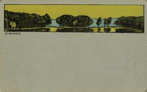 Postkarte mit farbiger Zeichnung an die Eltern ⋅ 1909 Image