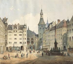Marienplatz in München mit dem Alten Rathaus ⋅ 1853 Image